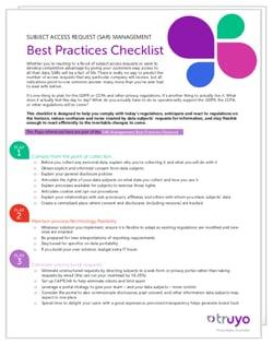 SAR Management Checklist